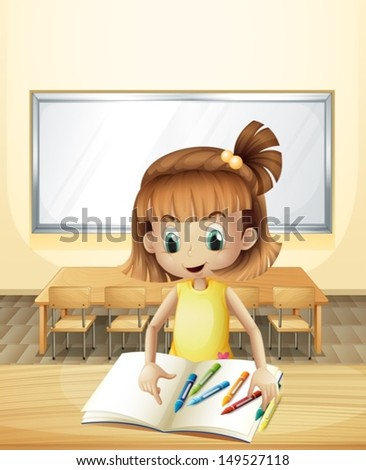 Illustration of a girl inside the classroom with her books and crayons - stock vector