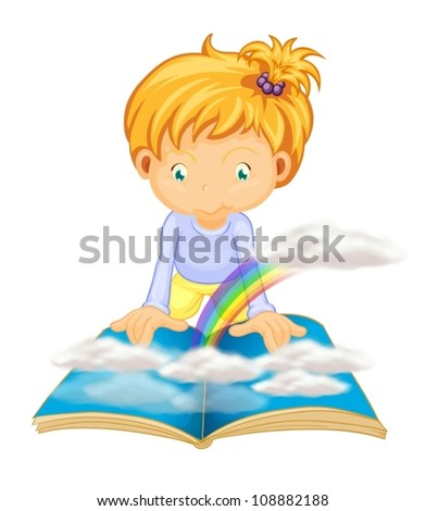 illustration of a girl on a white background - stock vector