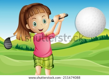 Illustration of a girl playing golf - stock vector