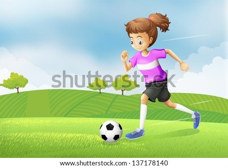 Illustration of a girl playing soccer at the field