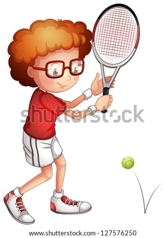 Illustration of a girl playing tennis on a white background - stock vector