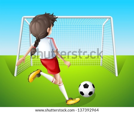Illustration of a girl practicing soccer - stock vector