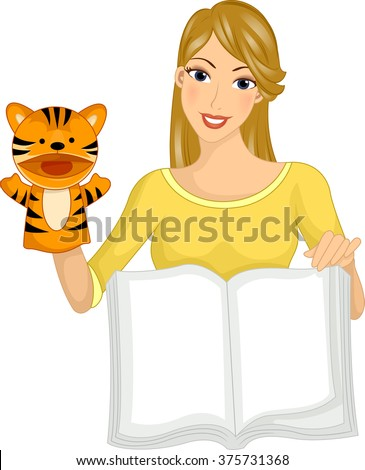Illustration of a Girl Reading a Book Using a Puppet - stock vector