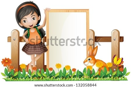 Illustration of a girl standing beside an empty frame with a bunny on a white background - stock vector