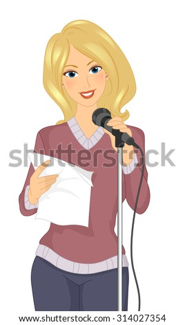 Illustration of a Girl Standing in Front of a Mic While Reciting Poetry - stock vector