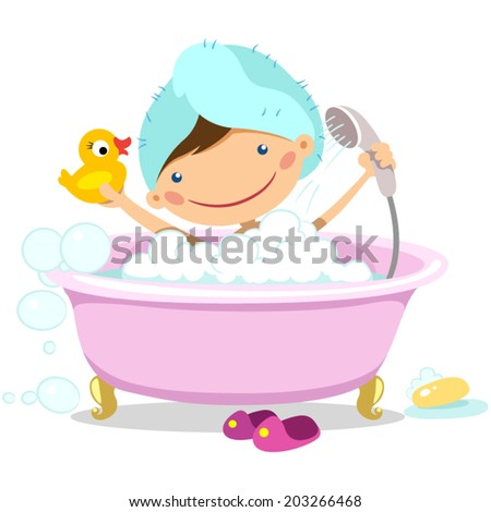 Illustration of a girl takes a bath with a rubber duck - stock vector