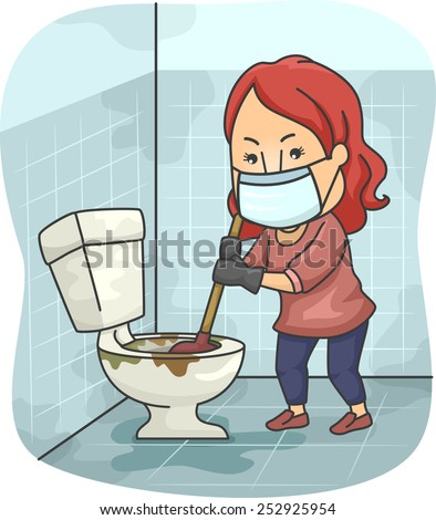 Illustration of a Girl Trying to Unclog a Toilet Bowl - stock vector