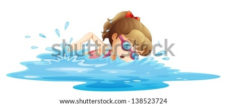 Illustration of a girl wearing a pink swimwear swimming on a white background
