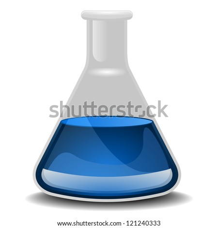 illustration of a glass flask with blue liquid