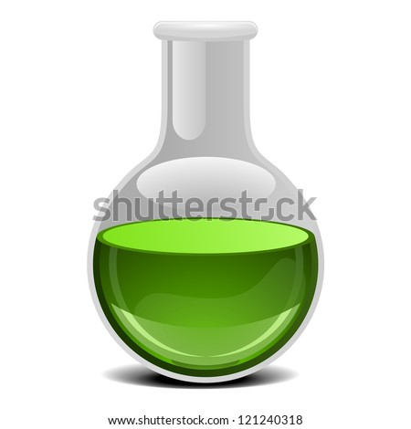 illustration of a glass flask with green liquid - stock vector