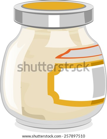Illustration of a Glass Jar Full of Mayonnaise