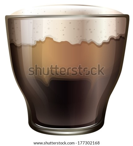 Illustration of a glass of cold coffee on a white background