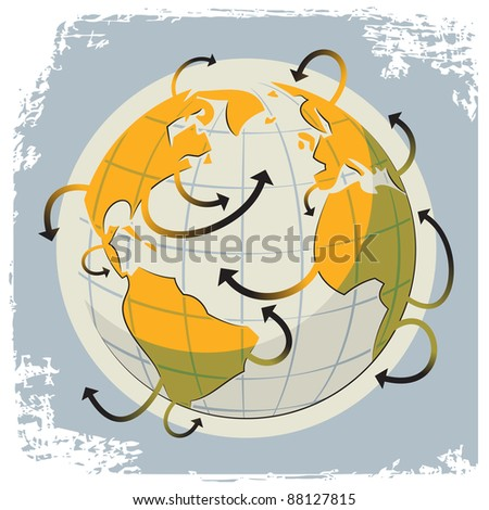 Illustration of a globe and a many arrows as a symbol of communication and travel - stock vector