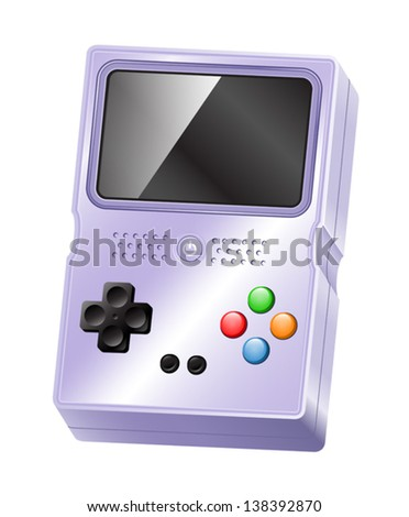 Illustration of a glossy portable handheld gaming device. Eps 10 Vector. - stock vector
