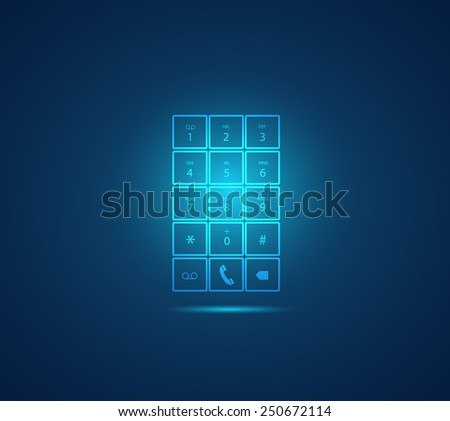 Illustration of a glowing mobile phone keypad design on a colorful background. - stock vector