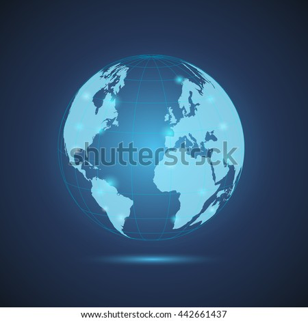 Illustration of a glowing world globe on a colorful blue background.