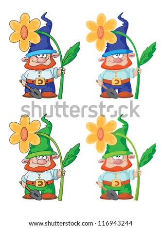 illustration of a gnome and flower - stock vector