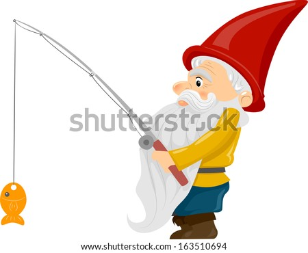 Illustration of a Gnome Holding a Fishing Rod with a Fish Dangling at the End - stock vector