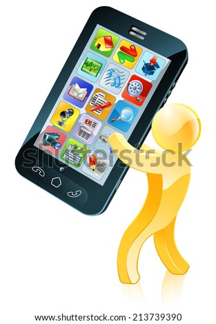 Illustration of a gold figure mascot holding a giant mobile phone