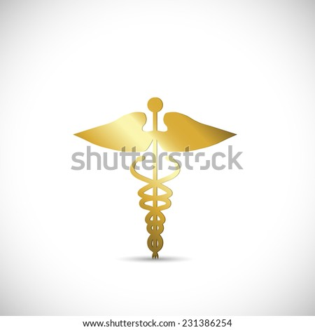 Illustration of a gold medical symbol isolated on a white background. - stock vector