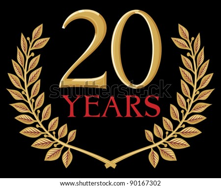 illustration of a golden laurel wreath - 20 years - stock vector