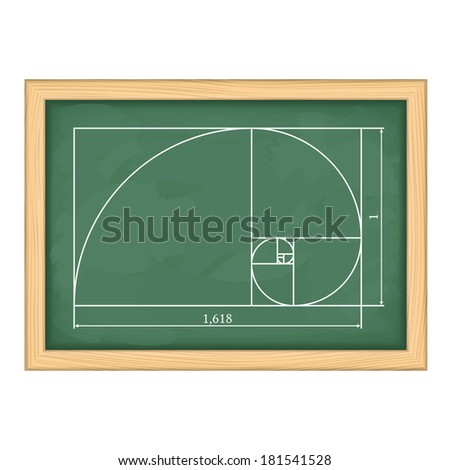 Illustration of a golden proportion on blackboard, vector eps10 illustration