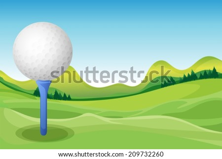 Illustration of a golf and a field - stock vector