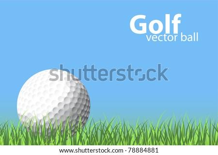 illustration of a golf ball on grass - stock vector