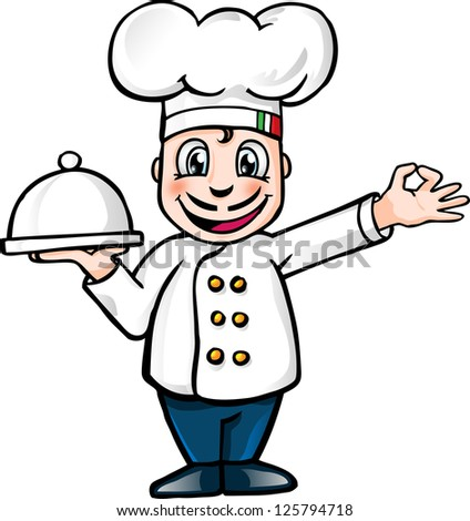 Illustration of a gourmet chef holding silver platter and giving an okay sign / chef