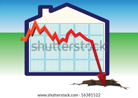 Illustration of a graph showing falling house prices