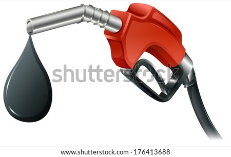 Illustration of a gray and red colored fuel pump on a white background - stock vector