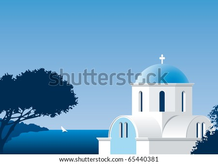 Illustration of a Greek church close to the Mediterranean sea