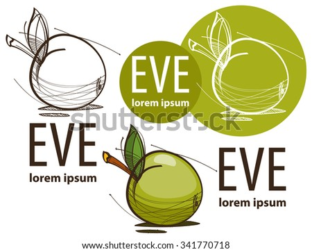 Illustration of a green apple on white background, Eve, fruit - stock vector
