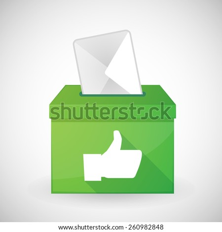 Illustration of a green ballot box with a thumb hand - stock vector