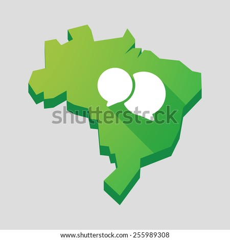 Illustration of a green  Brazil map with a comic balloon - stock vector