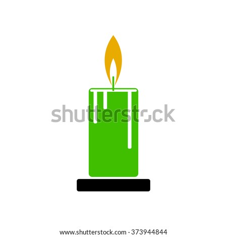 Illustration of a green candle with fire