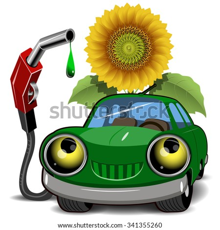 Illustration of a green car fueling and sunflower - stock vector