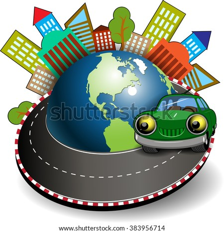 Illustration of a green car is traveling around the globe - stock vector