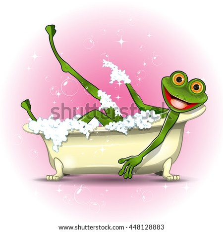 Illustration of a green frog in a bath