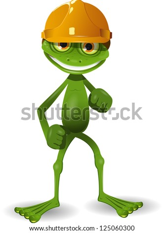 illustration of a green frog in the construction helmet - stock vector
