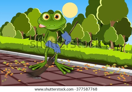 Illustration of a green frog with a broom - stock vector