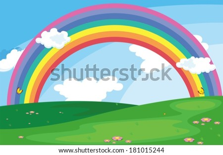 Illustration of a green landscape with a rainbow in the sky - stock vector