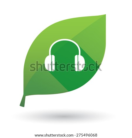 Illustration of a green leaf icon with a earphones - stock vector