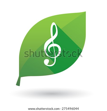 Illustration of a green leaf icon with a g clef - stock vector