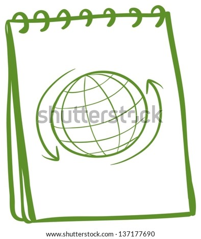 Illustration of a green notebook with a drawing of a globe at the cover page on a white background - stock vector
