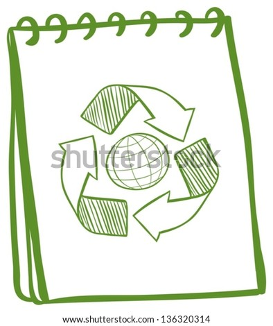 Illustration of a green notebook with a drawing of the recycle symbol on a white background - stock vector