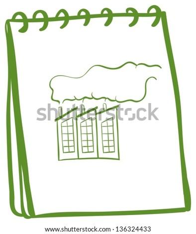 Illustration of a green notebook with an image of a factory on a white background
