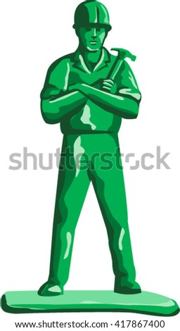 Illustration of a green plastic toy builder construction worker standing wearing hard hat holding hammer arms crossed viewed from front set on isolated white background done in retro style.  - stock vector