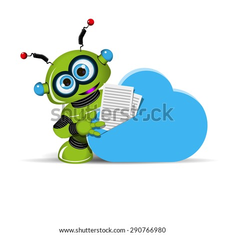 Illustration of a green robot documents and cloud
