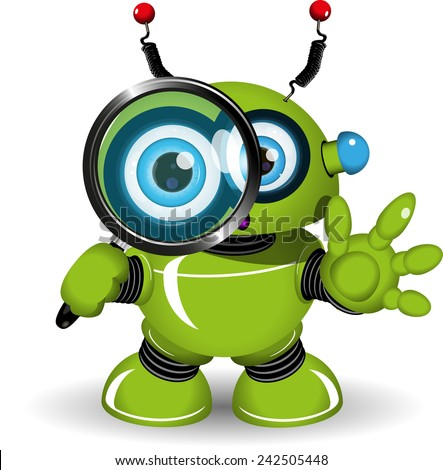 Illustration of a green robot with a magnifying glass - stock vector